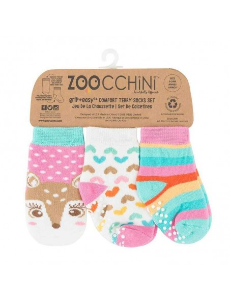 Zoocchini - Calzini Antiscivolo 3-pack - Cerbiatta