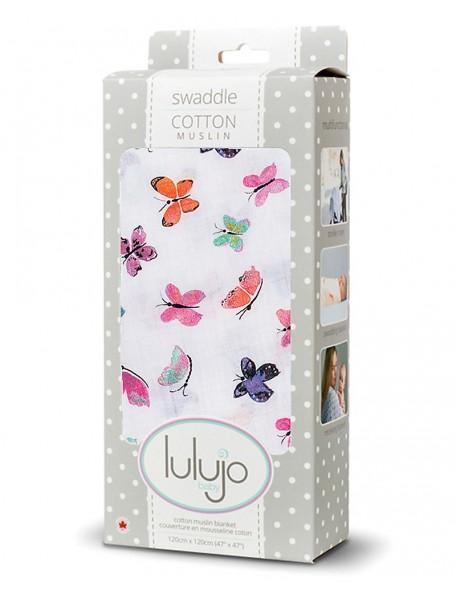 Lulujo Baby  Copertina Swaddle 120 x 120 cm, Farfalle - 100% mussola di cotone
