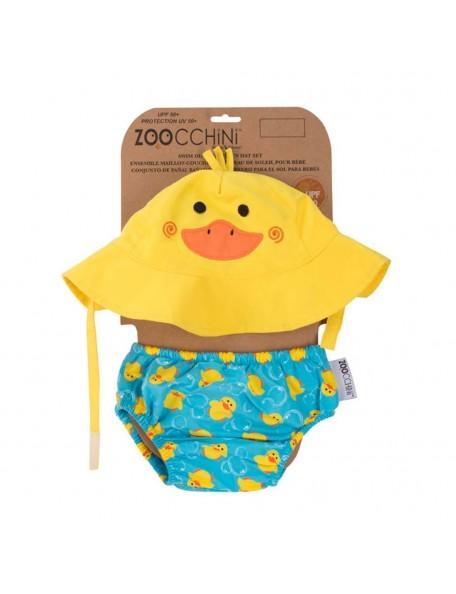Zoocchini - Set Baby Costumino Contenitivo + Cappellino, Anatroccolo - UPF 50+