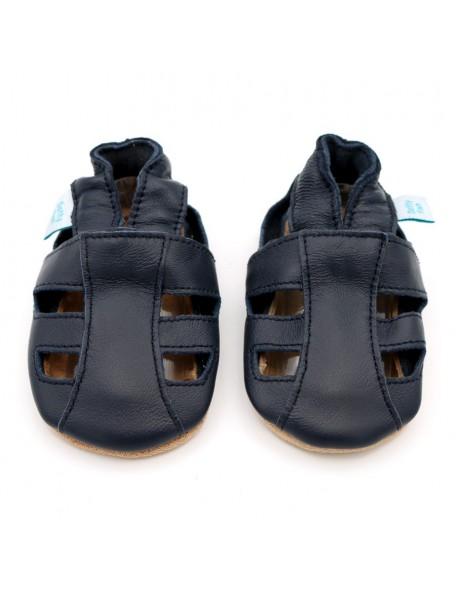 Dotty Fish - Sandalo Pelle - Blu aperto