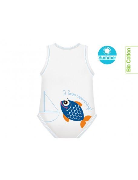 J Body - 0-36 mesi  - Bio Cotton Summer - Smanicato Pesce Blu
