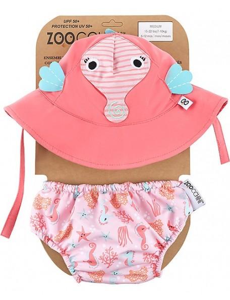 Zoocchini - Set Baby Costumino Contenitivo + Cappellino, Cavalluccio Marino - UPF 50+