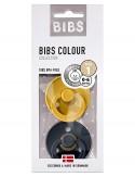 Bibs Colour - Set 2 Succhietti - 0-6M - Senape/Blu Notte