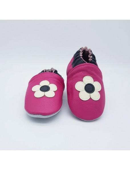 Le Peppe - Pantofole Pelle - Fiore fucsia