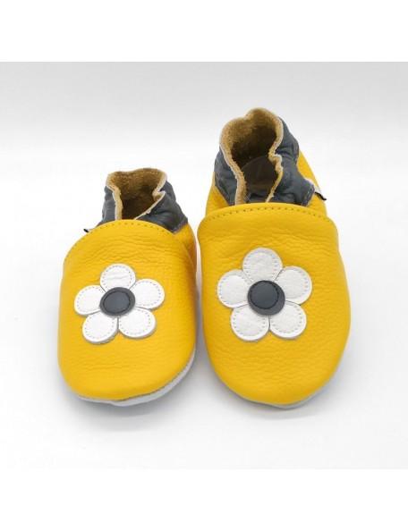 Le Peppe - Pantofole Pelle - Fiore giallo