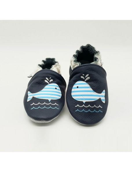 Le Peppe - Pantofole Pelle - Balena azzurra