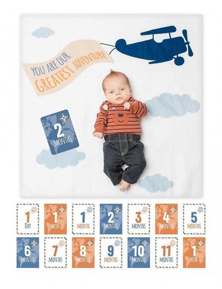 Lulujo Baby - Kit Primo Anno Greatest Adventure - Copertina Swaddle in Mussola di Cotone + 14 Cards - Per i bebé più social!