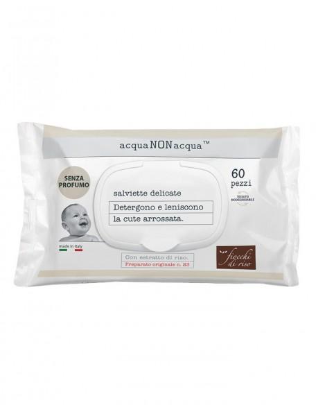 Fiocchi di Riso - Salviette Detergenti Acqua non Acqua - 60 pz - Senza profumo