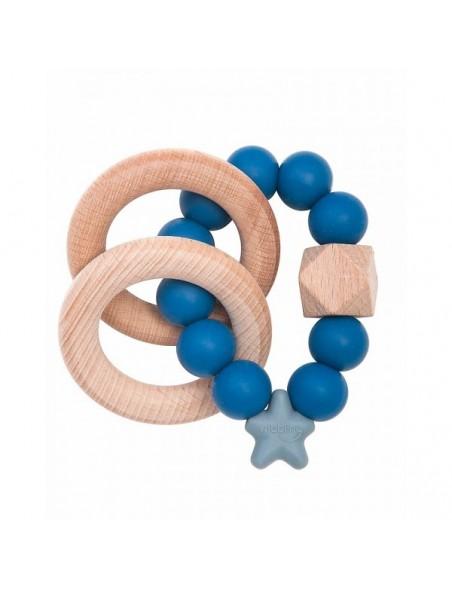 Nibbling - Massaggiagengive/Sonaglio 2-in-1 - Legno Naturale e Silicone Alimentare - Blu