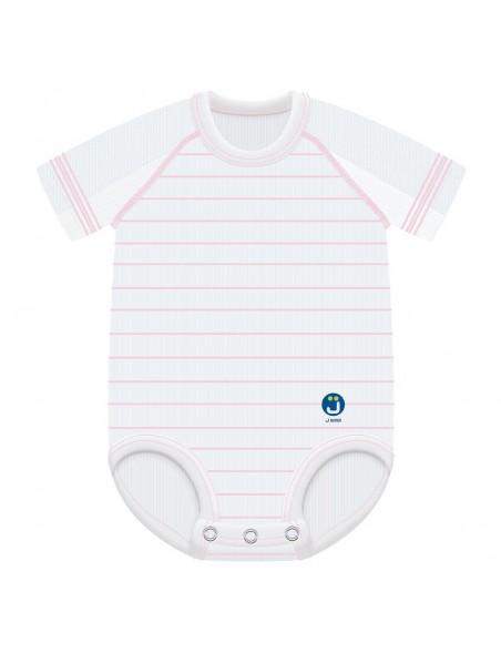 J Body 0-36 mesi Dryarn mezza manica - Bianco a righe rosa