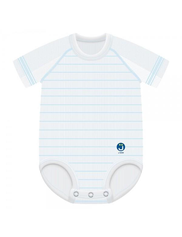 J Body 0-36 mesi Dryarn mezza manica - Bianco a righe azzurre