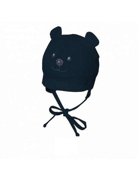 Sterntaler - Cappellino neonato con visiera e laccetti - Orsetto blu