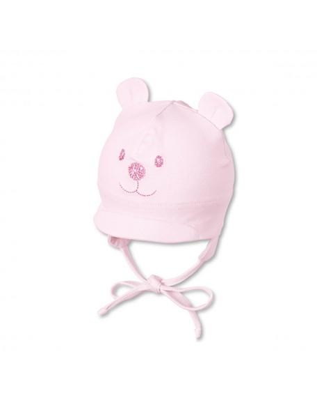 Sterntaler - Cappellino neonato con visiera e laccetti - Orsetto rosa