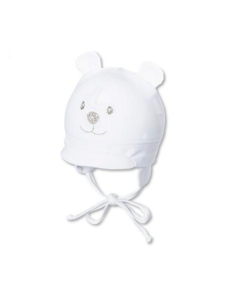 Sterntaler - Cappellino neonato con visiera e laccetti - Orsetto bianco