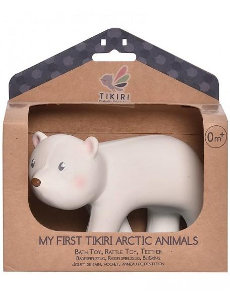Tikiri - 3-in-1 Sonaglio Orso Polare, Massaggiagengive, Gioco da Bagno, My First Arctic Animals - 100% Caucciù Naturale