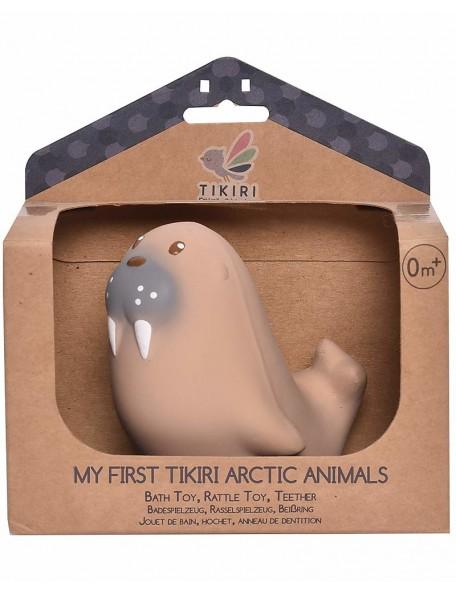 Tikiri - 3-in-1 Sonaglio Leone Marino, Massaggiagengive, Gioco da Bagno, My First Arctic Animals - 100% Caucciù Naturale