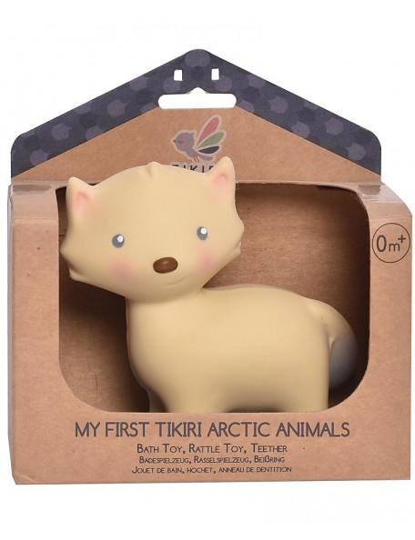 Tikiri - 3-in-1 Sonaglio Volpe, Massaggiagengive, Gioco da Bagno, My First Arctic Animals - 100% Caucciù Naturale