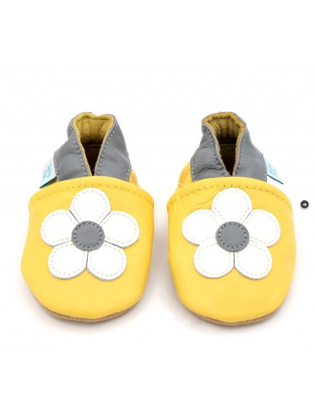 Dotty Fish - Pantofole Pelle - Gialle/Fiore Bianco