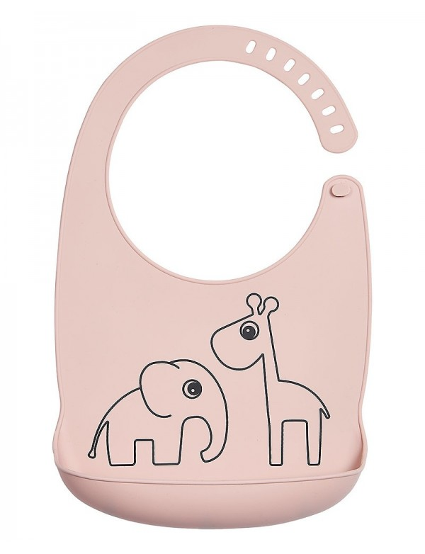 Done By Deer  Bavaglino Impermeabile con Tasca Deer Friends, Rosa Cipria - 100% silicone alimentare
