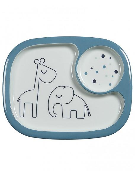 Done By Deer  Mini Piatto a Scomparti Yummy Dreamy Dots - Celeste