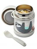 3Sprouts - Thermos Porta Cibo in Acciaio Inossidabile con Cucchiaio-Forchetta, Bradipo - 350 ml