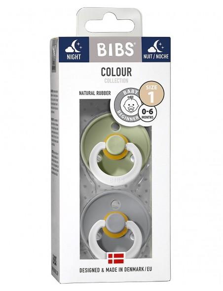 Bibs Color - Set 2 Succhietti Night -6-18 M -Verde/Grigio