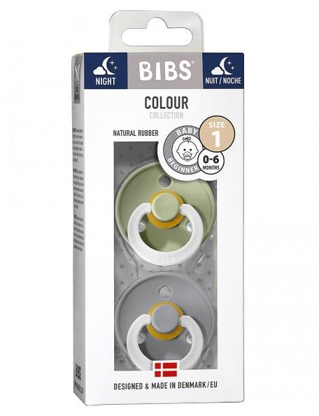 Bibs Color - Set 2 Succhietti Night -0/6 M -Verde/Grigio