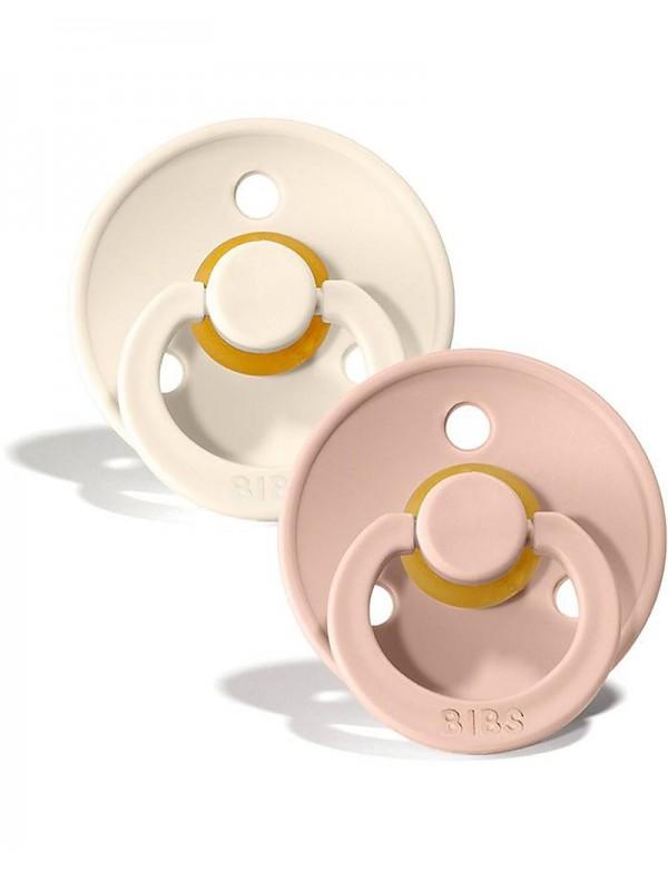 Bibs Color - Set 2 Succhietti - 6-18M - Bianco/Rosa Antico